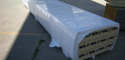 package of 80mm roof panel in yard